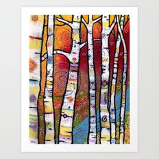 Enchanted Magical Forest - The Trees Sing to the River Art Print