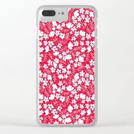 Love Blossoms Pattern White on Red Clear iPhone Case
