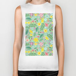 Colorful yellow pink green tropical floral pattern Biker Tank