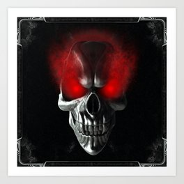Skull with glowing red eyes Art Print