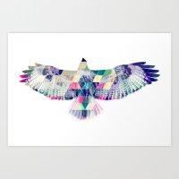 hawk Art Prints featuring Hawk by NKlein Design