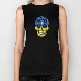 Sugar Skull with Roses and Flag of Ukraine Biker Tank