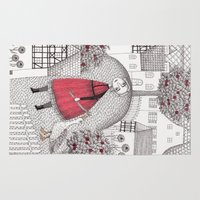 justin timberlake Area & Throw Rugs featuring The Old Village by Judith Clay