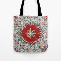 blood Tote Bags featuring Mandala Nada Brahma  by Elias Zacarias