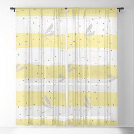 Silver Dragonfly Christmas seamless pattern and Gold Confetti on Yellow and White Stripes Background Sheer Curtain