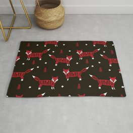 Foxes scandinavian minimal winter christmas red and black pattern by andrea lauren Rug