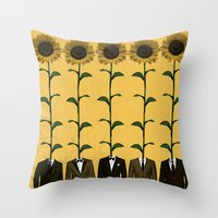 suits Throw Pillows featuring Sunflowers In Suits Print by Roxy Makes Things