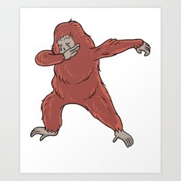 Cute Dabbing Orangutan Gift Idea Art Print