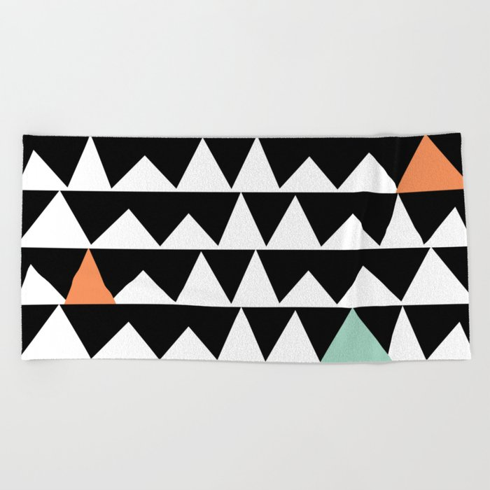 Tribal Triangles, Geometric Aztec Andes Pattern Beach Towel