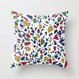 Terrazzo Spot Color on White Throw Pillow