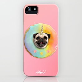 Unicorn Pug Pastel Donut iPhone Case