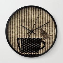 Bird on Teacup Wall Clock