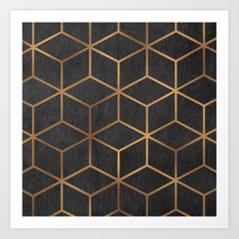 Charcoal and Gold - Geometric Textured Cube Design I Art Print