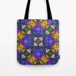 Floral Spectacular: Blue, Plum and Gold - repeating pattern, diamond, Olbrich Botanical Gardens, Mad Tote Bag