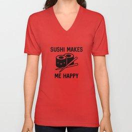 Sushi Makes Me Happy Unisex V-Neck
