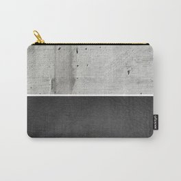 Raw Concrete and Black Leather Carry-All Pouch