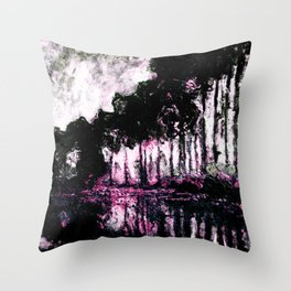 Monet Poplars on the Banks of the River Epte Pink Dark Throw Pillow