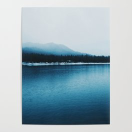 Nature, Landscape, Mountains, Water, Blue, Scandinavian, Minimal, Wall art Art Print Poster