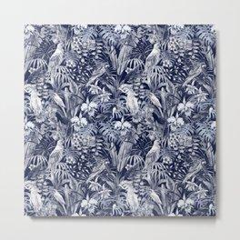blue tropical birds pattern Metal Print