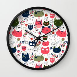 Lovely Cats Pattern for Cats Lovers. Wall Clock