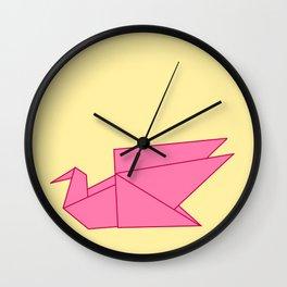 Pink Origami Swan Wall Clock