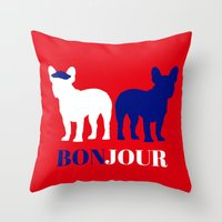 bonjour Throw Pillows featuring Bonjour by Laura Maria Designs