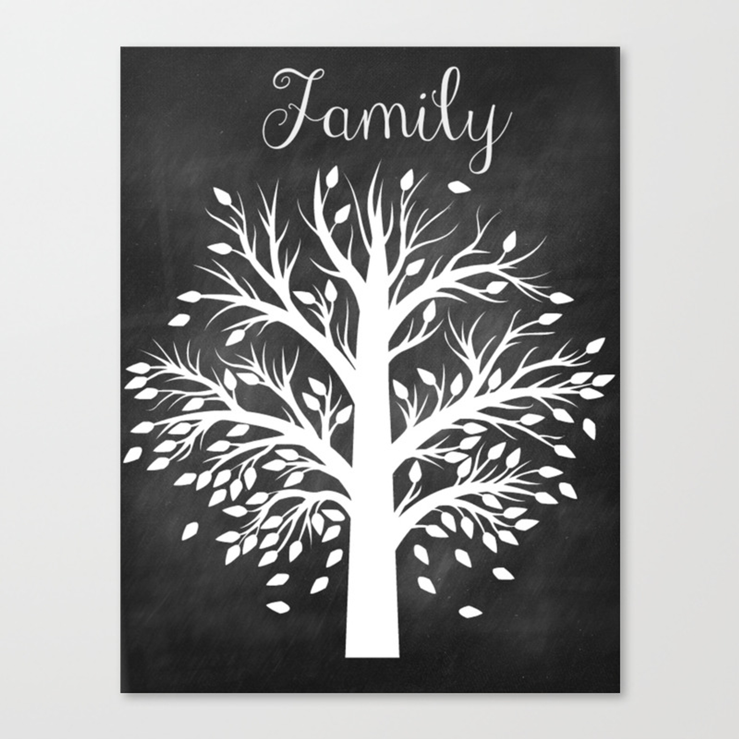 Family tree black and white canvas print