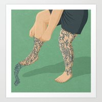 tattoos Art Prints featuring Tattoos by John Holcroft