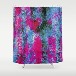 vintage psychedelic painting texture abstract in pink and blue with noise and grain Shower Curtain