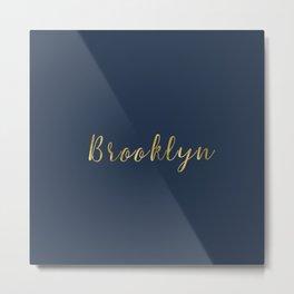 Brooklyn Gold Script Metal Print