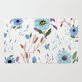 hand draw blue floral pattern Rug