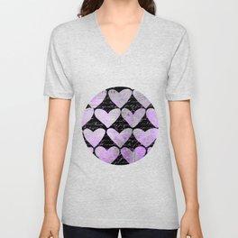 Pink Purple Heart Typography Pattern Unisex V-Neck