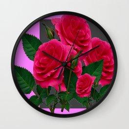 DECORATIVE RED ROSES GARDEN MODERN PINK ART Wall Clock