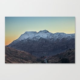 Sunset on a Snow Covered Mountain Photography Print Canvas Print