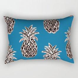 Gold Pineapples on teal Rectangular Pillow