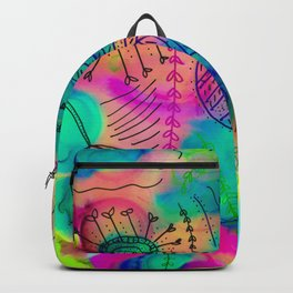 colorful alcohol ink doodle painting Backpack
