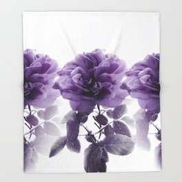 Three Roses In A Row Throw Blanket