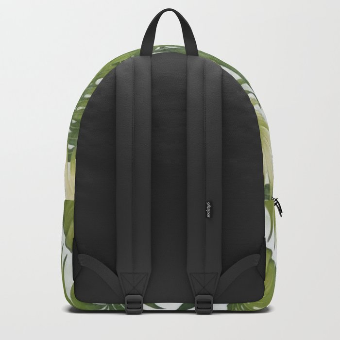 Monstera and palm leaves Backpack