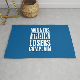 Lab No. 4 - Winners Train Losers Complain Inspirational Quotes poster Rug