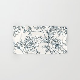 Navy and Cream Vintage Chinoiserie Botanical Floral Toile Wallpaper Pattern Hand & Bath Towel