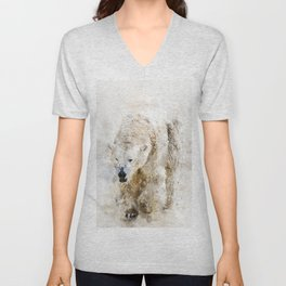 Abstract watercolor polar bear Unisex V-Neck