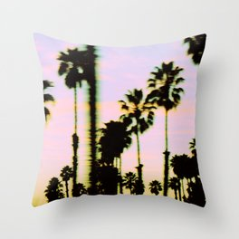 California Dreaming Palm Trees Sunset Throw Pillow