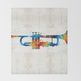 Colorful Trumpet Art Color Fusion By Sharon Cummings Throw Blanket