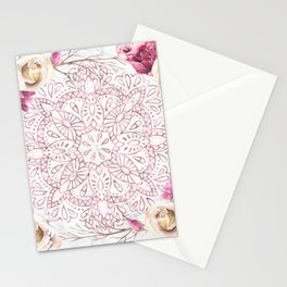 Rose Gold Mandala Garden on Marble Stationery Cards