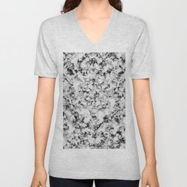 Black and White Veined Faux Marble Repeat Unisex V-Neck