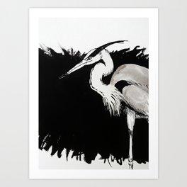 Inksplash Heron Art Print