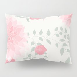 Dahlias and spring flowers in light pastel pink Pillow Sham