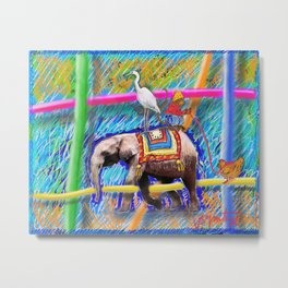 The Elephant and the Monkey Metal Print
