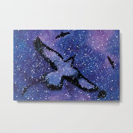 Galactic Crows on a Watercolor Night Sky Metal Print