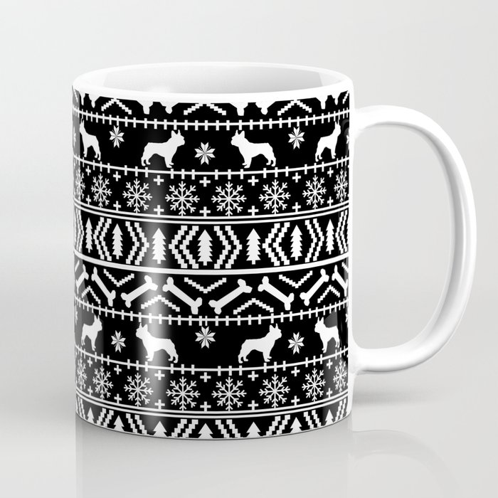 Boston Terrier Christmas Sweater.Boston Terrier Fair Isle Dog Pattern Silhouette Christmas Sweater Black And White Coffee Mug By Petsilhouettes